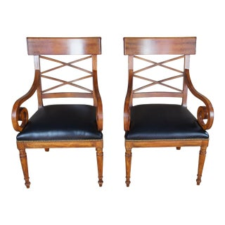 Baker Furniture Milling Road Walnut Directoire Chairs- A Pair For Sale