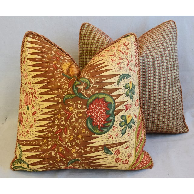 """French Pierre Frey La Riviere Feather/Down Pillows 21"""" Square - Pair For Sale - Image 10 of 12"""