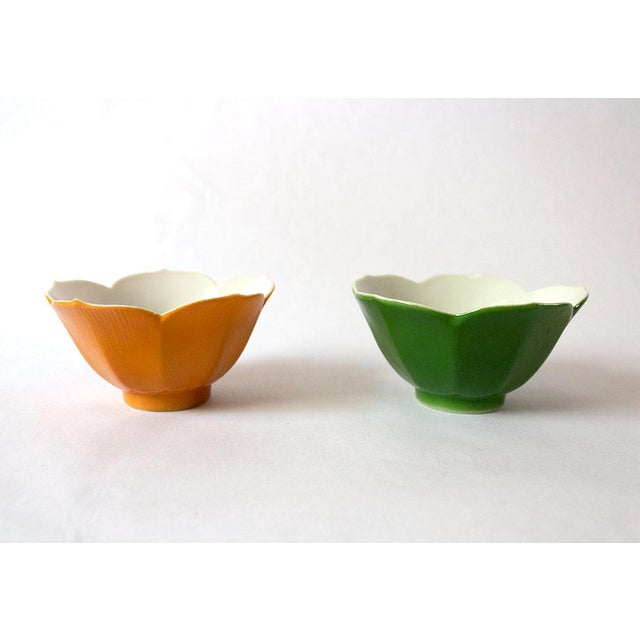 Vintage Japanese Lotus Bowls - a Pair For Sale - Image 4 of 5