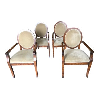 1990s Vintage William Switzer Joseph Hoffman Arm Chairs- Set of 4 For Sale