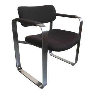 Mid Century Modern Eero Aarnio for Mobel Italia Brushed Chrome Arm Chair For Sale
