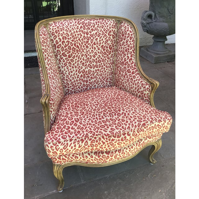 French 1940s Louis XV Style French Accent Chair Upholstered in Red Leopard Fabric For Sale - Image 3 of 8