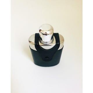 Vintage Glass Flask in Black Leather Holder Preview