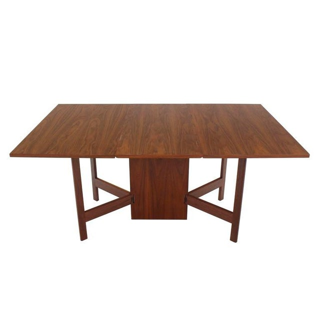 Mid 20th Century George Nelson Walnut Drop Leaf Dining Table Gate Leg For Sale - Image 5 of 10