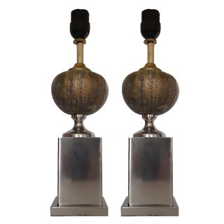 Vintage Maison Charles Urchin Table Lamps - A Pair For Sale