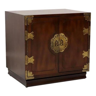 Henredon Asian Japanese Tansu Campaign Style Nightstand / Bedside Chest For Sale