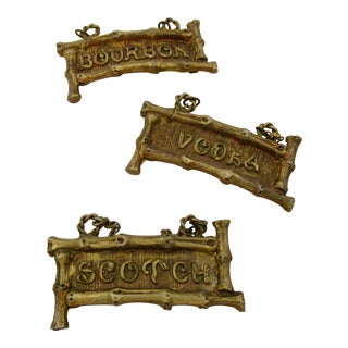 Gilt Faux Bamboo Decanter Bottle Labels -Set of 3