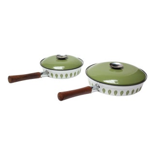 Pair of Green Lotus Enamel Lidded Skillets by Cathrineholm For Sale