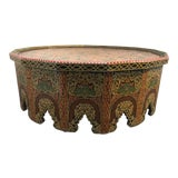 Image of 20th Century Moroccan Large Coffee Table Hand-Painted With Polychrome Colors For Sale