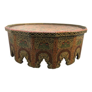 20th Century Moroccan Large Coffee Table Hand-Painted With Polychrome Colors For Sale
