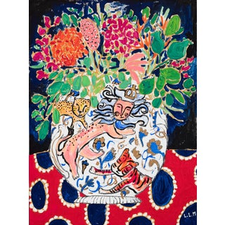 Floral Still Life in Giant Wild Cat Vase With Lions and Tigers and Cheetahs on Red and Blue Painting For Sale