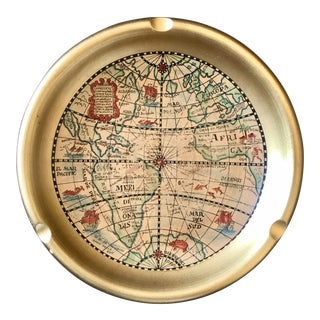 Vintage Gold Italian Pottery Map Ashtray For Sale