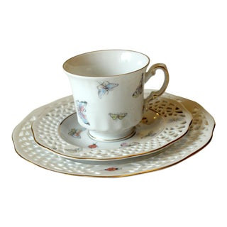 Bavarian Porcelain Cup, Saucer and Plate, Burg Lindau Tea and Coffee Set - 3 Piece Set For Sale