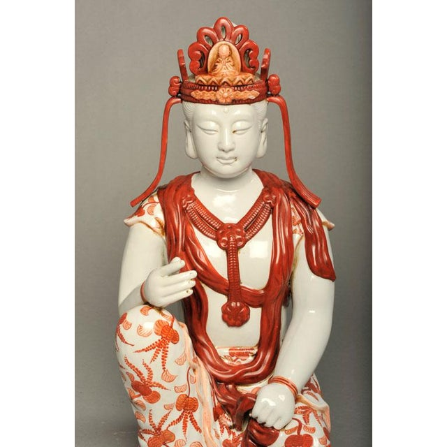Japanese Hand-Painted Porcelain Bodhisattva Sculpture - Image 5 of 8