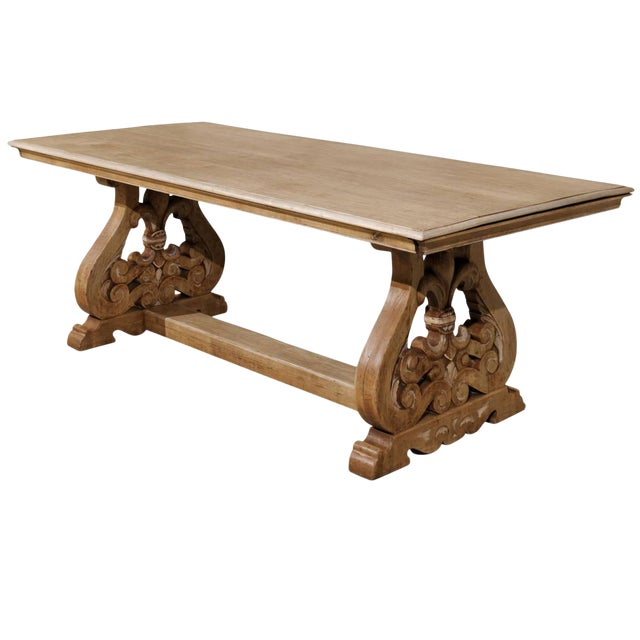 19th Century Italian Bleached Wood Dining Table With Lyre Shaped Base For Sale