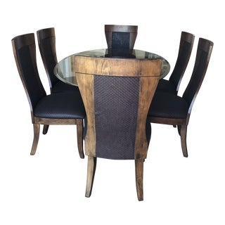 Modern Walnut Wood and Glass Dining Room Set For Sale