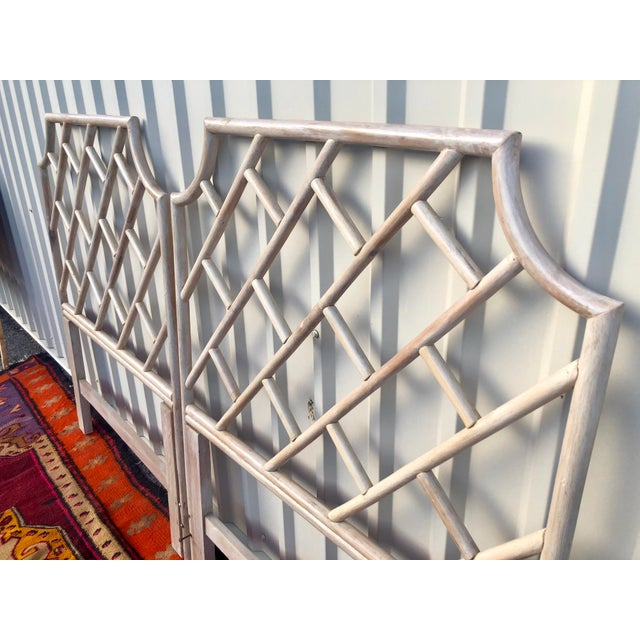 Vintage Bamboo Rattan Chinese Chippendale Twin Headboards - a Pair For Sale - Image 4 of 8
