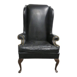 Hickory Chair Co. Leather Queen Anne Wing Chair For Sale
