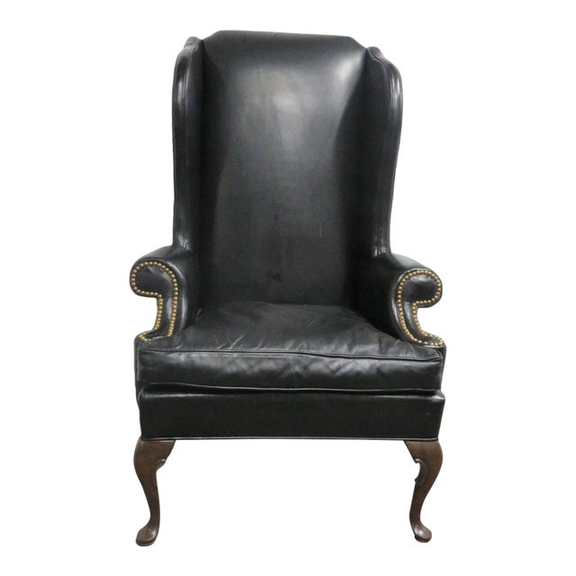 Swell Hickory Chair Co Leather Queen Anne Wing Chair Creativecarmelina Interior Chair Design Creativecarmelinacom