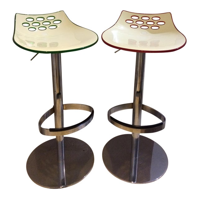 Calligaris Adjustable Swivel Barstools - A Pair - Image 1 of 3