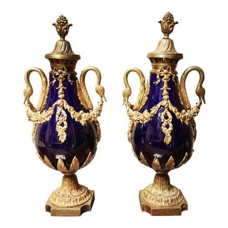 French Cobalt Porcelain and Bronze-Mounted Cassolettes - a Pair For Sale