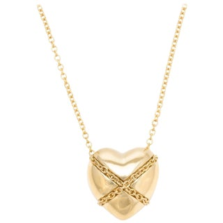 Vintage Tiffany & Co. Cross My Heart Necklace 18 Karat Gold Designer Jewelry For Sale
