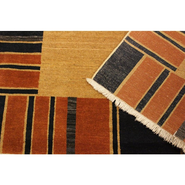Textile Gabbeh Jenee Tan/Blue Wool Area Rug -5'1 X 6'5 For Sale - Image 7 of 8