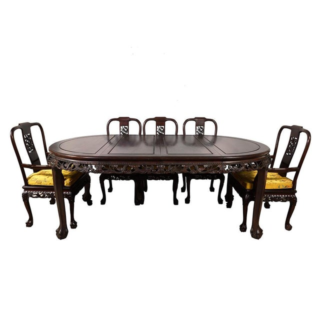 Mid 20th Century 20th Century Chinese Carved Rosewood Dragon Dining Set For Sale - Image 5 of 13