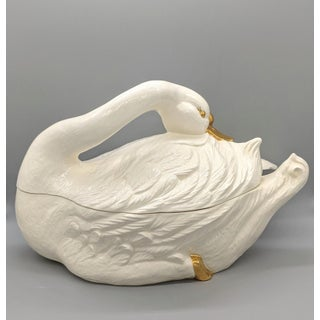 20th Century Cream and Gold Swan Soup Tureen and Ladle Preview