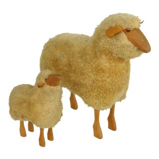 Lifesize Sheep & Lamb Sculptures by Hanns-Peter Krafft- Set of 2 For Sale