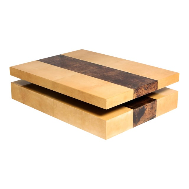 Aldo Tura Two-Tier Sliding Coffee Table For Sale