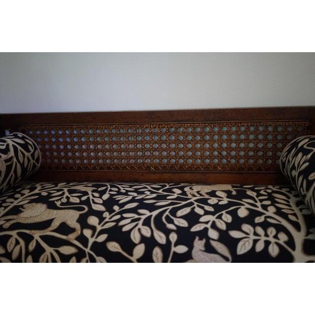 Mid-Century Robert Allen Upholstered Cane Settee For Sale - Image 11 of 13
