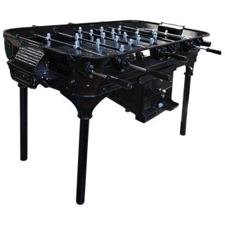 Vintage 1930 Black Foosball Table Signed La Cancha, Argentina For Sale