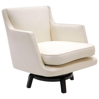 Swivel Lounge Chair, Edward Wormley for Dunbar, Almost White, Expertly Restored For Sale