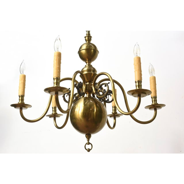 Gold Six Arm Continental Colonial Chandelier For Sale - Image 8 of 11