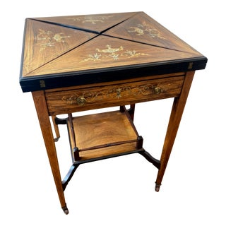 Antique English Inlaid Rosewood Edwardian Envelope Game Table For Sale