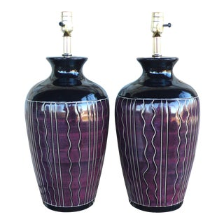 Vintage Harris Potteries Memphis Post Modern Style Table Lamps - a Pair For Sale