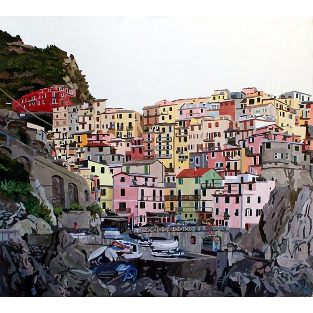 "Contemporary ""Manarola Cinque Terre"" Original Painting For Sale - Image 3 of 3"