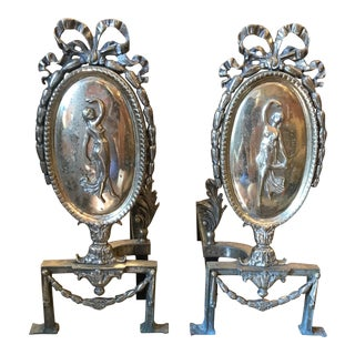 Antique French Empire Brass Andirons With Figural Woman Ribbon Topped - Pair For Sale