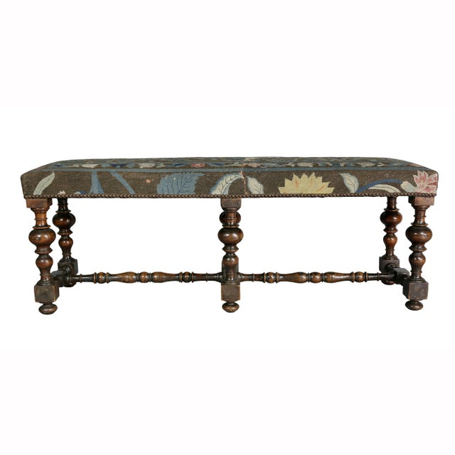 Blue William and Mary Needlepoint Walnut Bench For Sale - Image 8 of 10