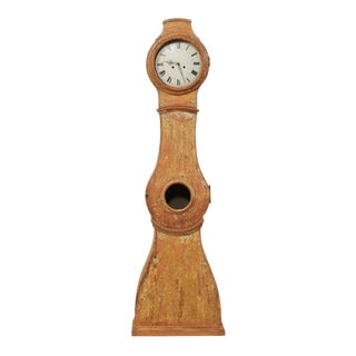 19th Century Swedish Painted Wood Long-Case Floor Clock For Sale