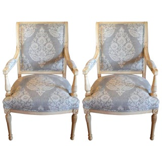 Pair of Gustavian Painted Armchairs Newly Uphostered in a Linen Damask, Grey and White.