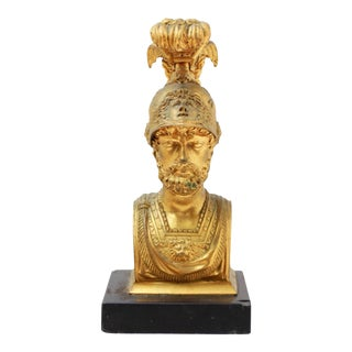 19th Century Grand Tour Style Gilt Bronze Classical Bust on the Marble Base For Sale