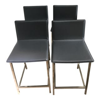 Cb2 Grey Leather Top Counter Stools - Set of 4