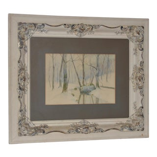 """Rufus Way Smith """"Winter Forest Landscape"""" Watercolor Painting C.1880 For Sale"""