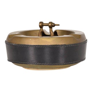 Hermes Style Brass and Leather Ashtray, Italy, 1960s For Sale