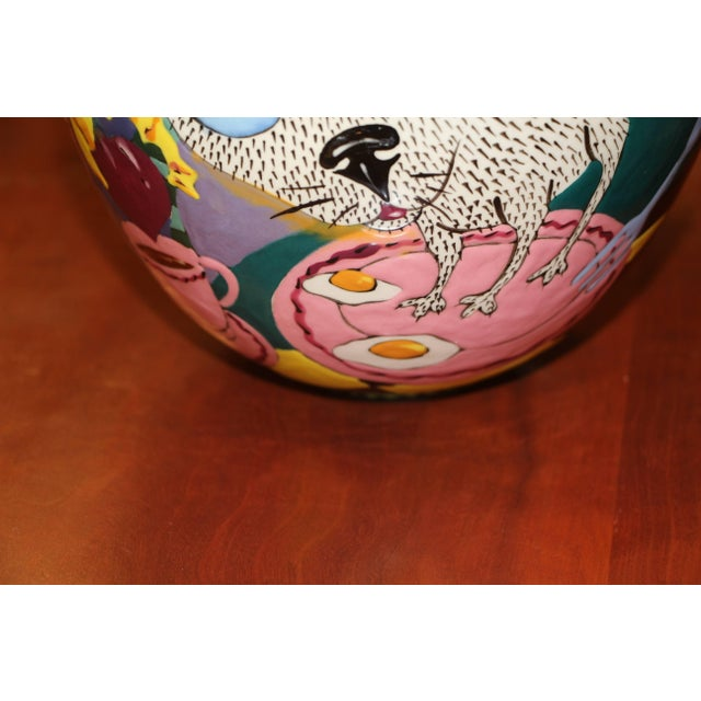 David Gurney Whimsical Glazed Vessel With Cat For Sale - Image 4 of 8