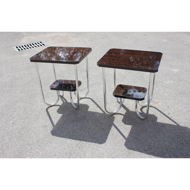 Art Deco 1940s French Modern Exotic Macassar Ebony End Tables - a Pair For Sale - Image 3 of 11