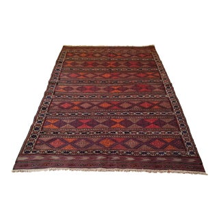 Flat Woven Hand Knotted Afghan Rug - 5′2″ × 9'2″ For Sale