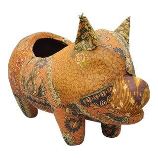 Vintage Fabric Pig Planter Pot For Sale